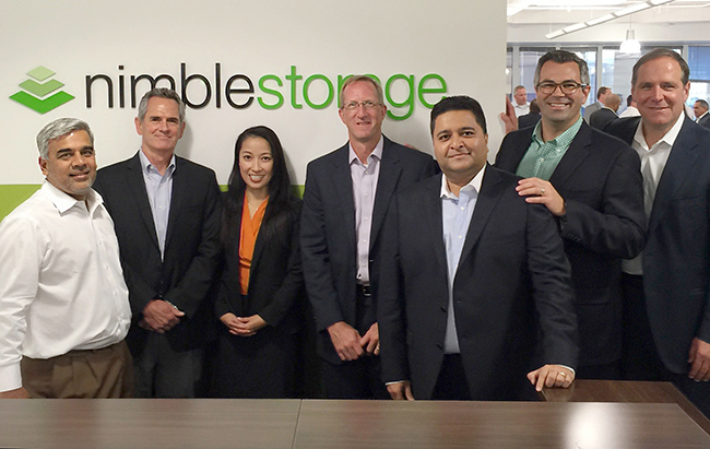Marking the opening of Nimble Storage's new Chicago offices are (left to right) Nimble CEO Suresh Vasudevan, VP WW Channels Leonard Iventosch, Head of Investor Relations Edelita Tichepco, SE Director Brad Hargett, CFO Anup Singh, AVP Keegan Riley, and Regional Director Rick Clopton.